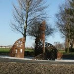 Corten steel outdoor feature art